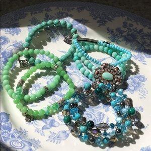 Lot of blu/grn crystal and glass bracelets!🤩✨